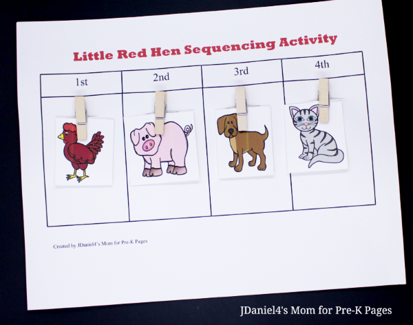 sequence Little Red Hen characters