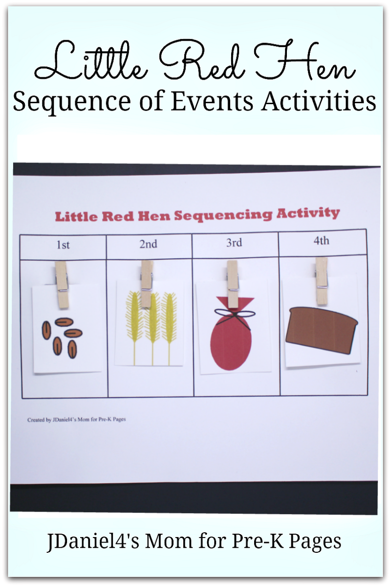 Little Red Hen Sequence Activity for pre-K