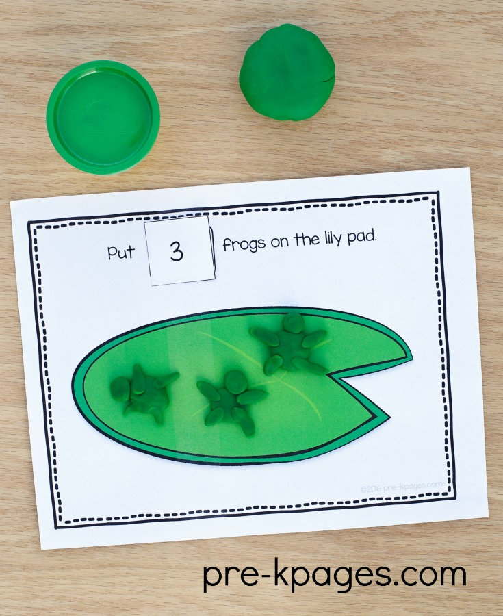 Printable Pond Theme Counting Play Dough Mats for Preschoolers