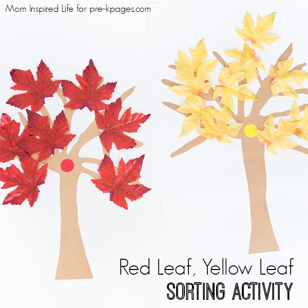 leaf sorting activity for preschool