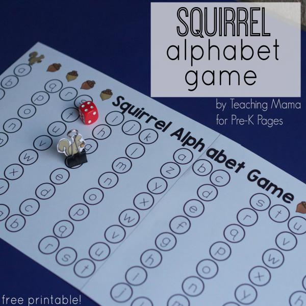 Squirrel Alphabet Game for prek