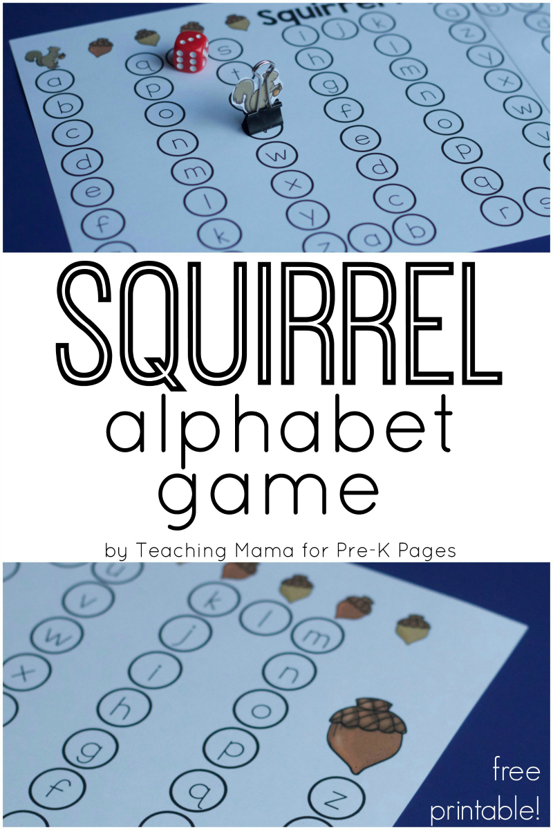 Squirrel Alphabet Game for Fall - Pre-K Pages