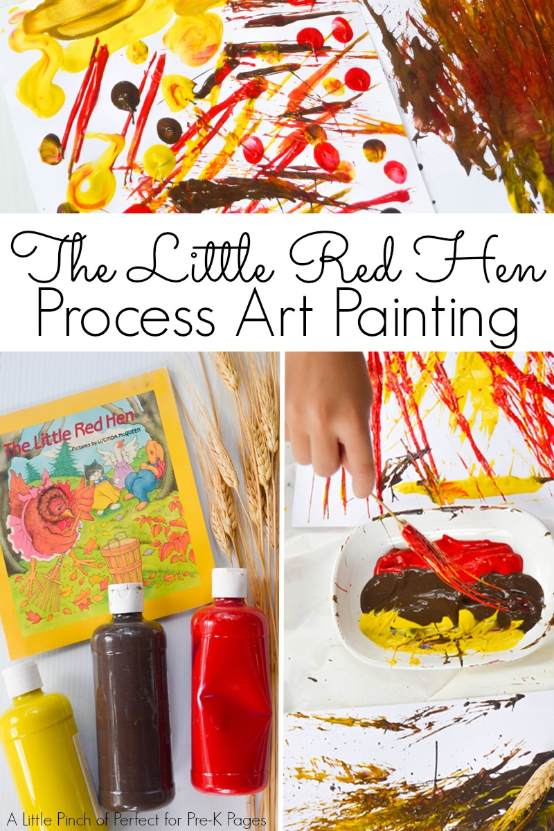 little red hen painting art for preschool