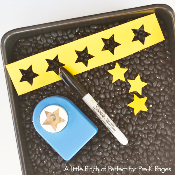 materials for alphabet stars sensory bin