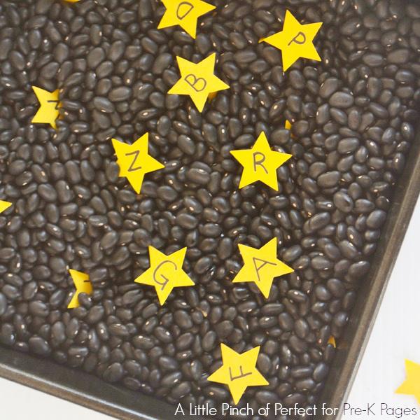 alphabet stars in black beans