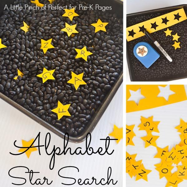alphabet nighttime sensory bin prek