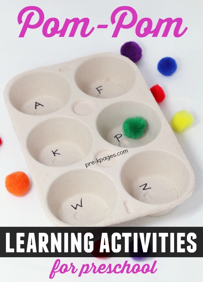 Pom Pom Alphabet Game for Preschool