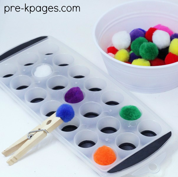 Pom Poms and Clothespins for Fine Motor Practice