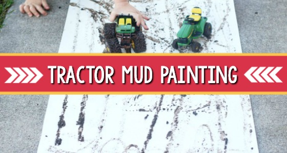 Tractor Mud Painting for a farm theme