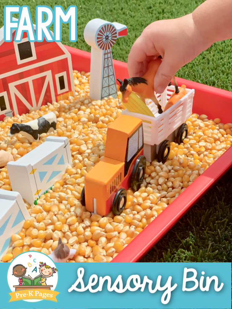 Farm Sensory Bin for Preschoolers