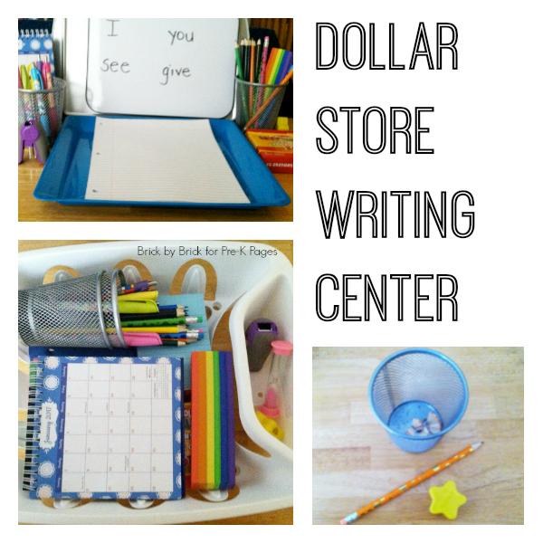 dollar store writing center for pre-k