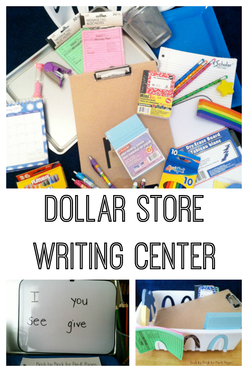 dollar store writing center for preschool