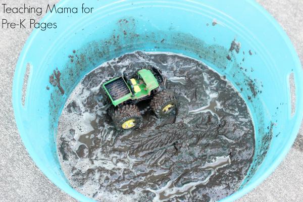 mud painting tractors prek