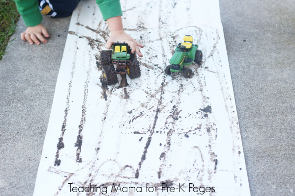 tractors mud painting preschool