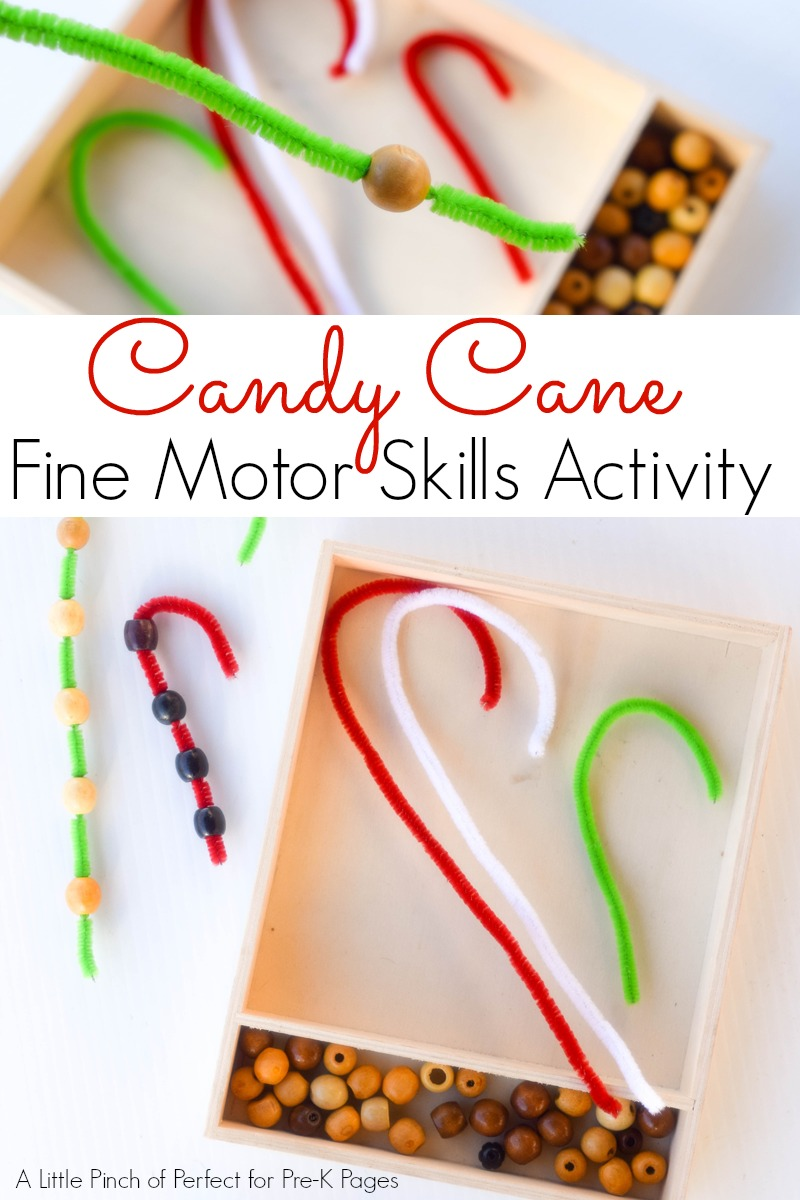 candy cane fine motor activity for preschool