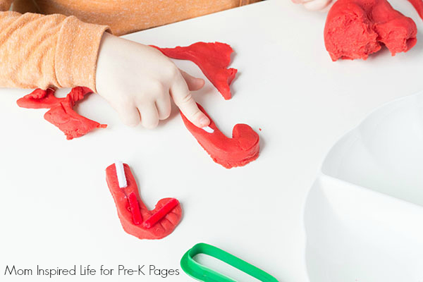candy cane Christmas play dough exploration