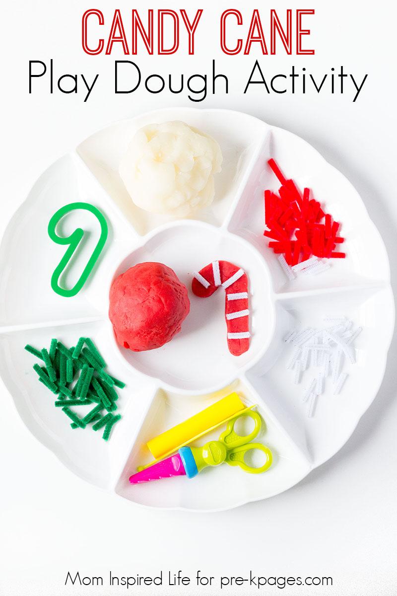 candy cane play dough activity for preschool
