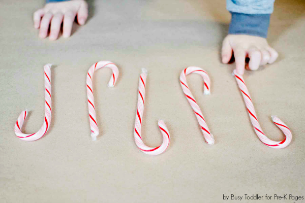 candy canes lined up in a pattern