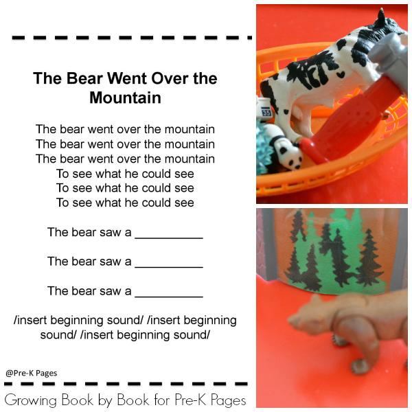 Bear Theme Phonological Awareness Activity Pre-K