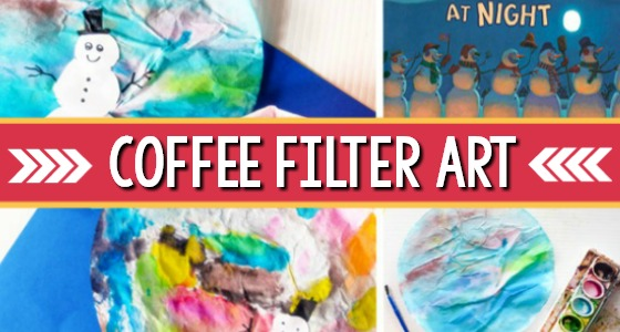 Snowmen at Night: Coffee Filter Art