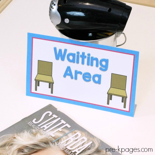 Hair Salon Printable Signs for Pretend Play Center