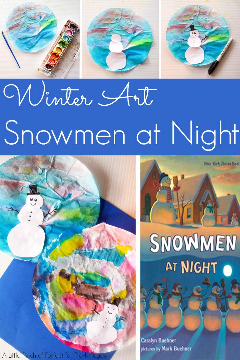 Snowmen at Night Winter Art Activity Preschool