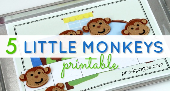 5 Monkeys Printable Slider