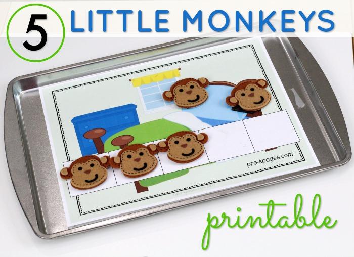 5 Little Monkeys 5 Frame Printable for Preschool