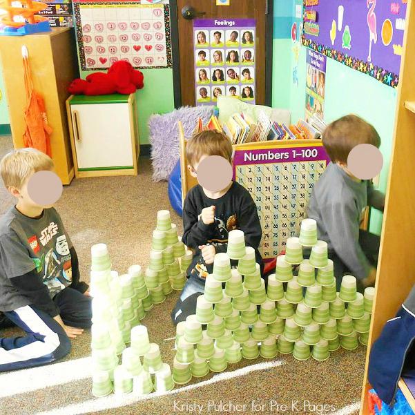 Building with 100 Cups in Preschool