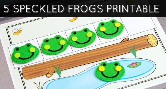 5 Green Frogs Counting Printable