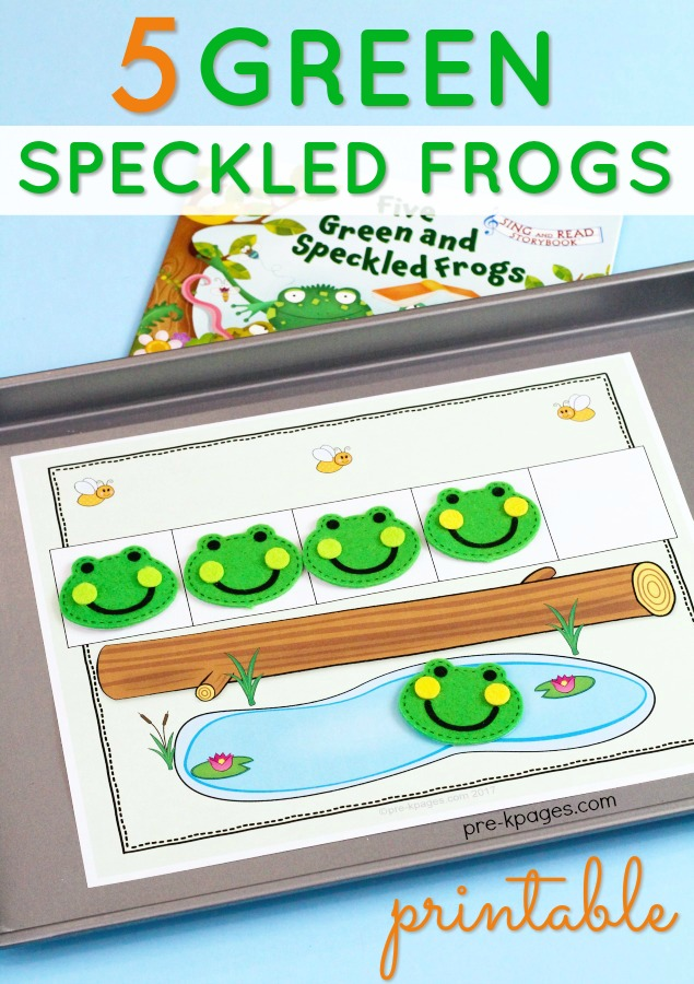 5 Speckled Frogs Counting Printable