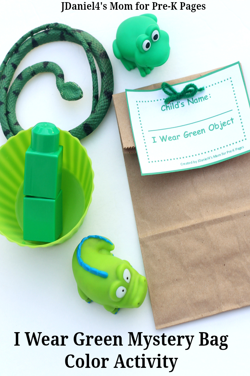 I Wear Green Mystery Bag Color Activity for preschool