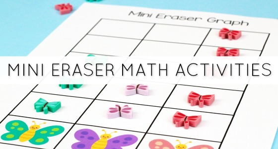 Mini Eraser Math Activities for Preschool
