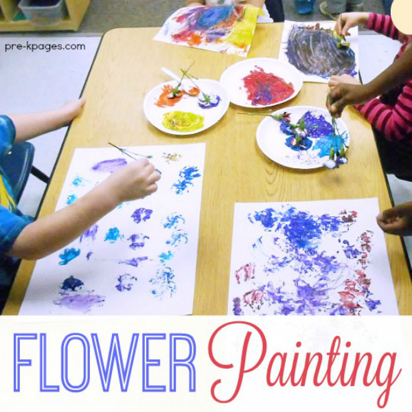 Painting with Flowers in Preschool