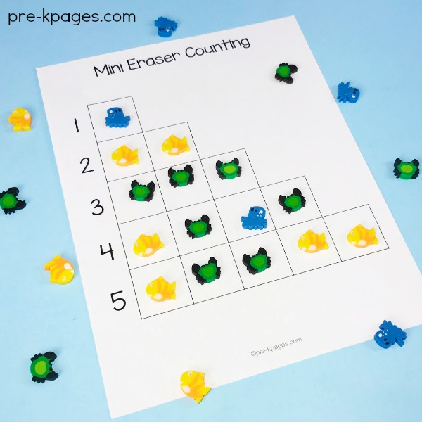 Printable Mini Eraser Counting Activity for Ocean Theme