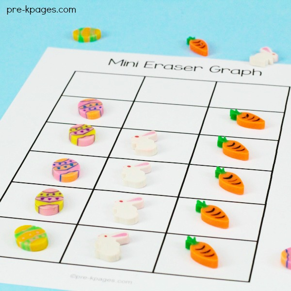 Printable Mini Eraser Graphing Activity for Easter