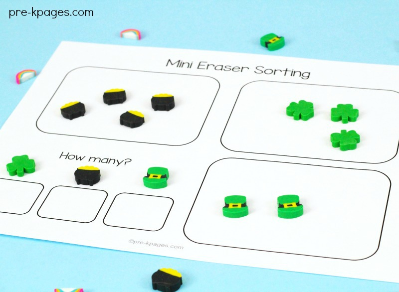 Printable Mini Eraser Sorting Activity for St Patricks Day