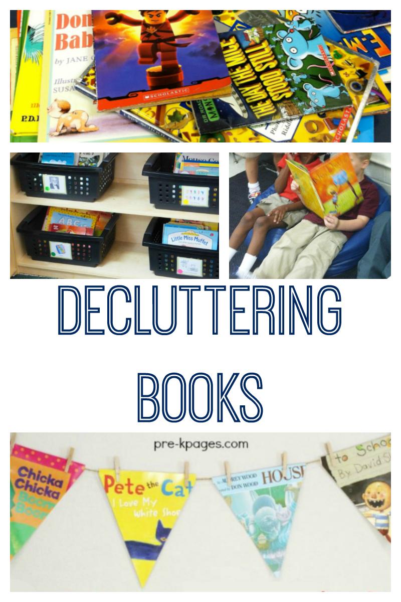 decluttering books in preschool class library