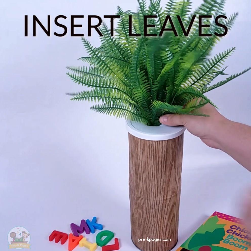 Use a fake fern plant to create a magnetic Chicka Chicka Boom Boom Tree