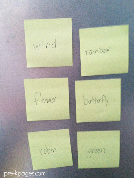 spring poem word list pre-k