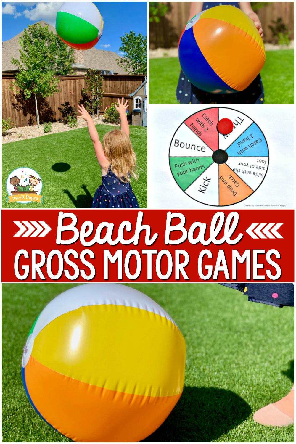 Beach Ball Gross Motor Game for preschoolers