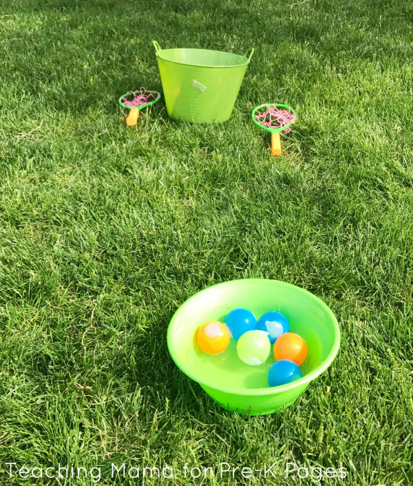 summer water balloon toss game for outdoor obstacle kids course