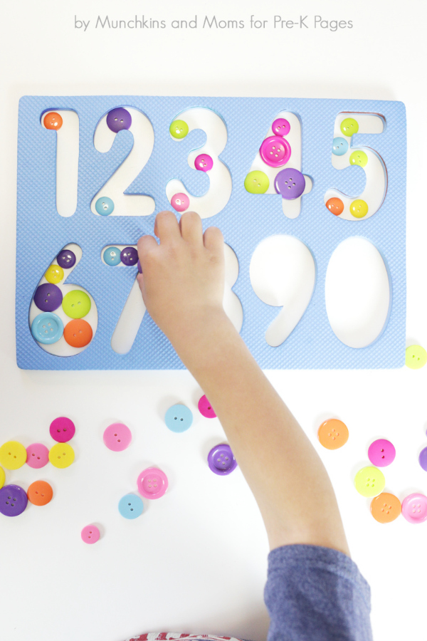 math center activity counting buttons