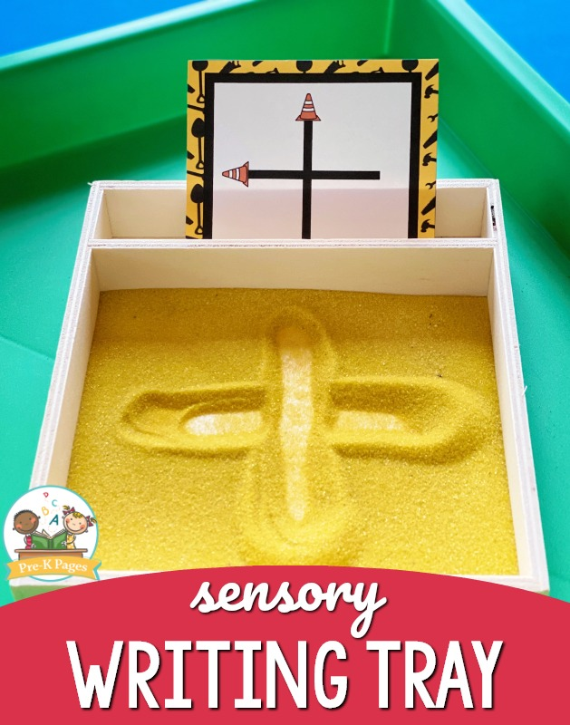 Sensory Writing Tray for Preschoolers with yellow sand