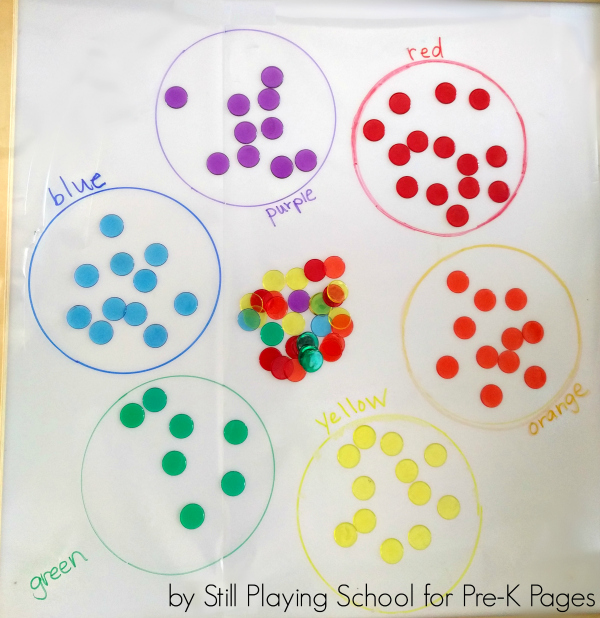 color sort counters preschool
