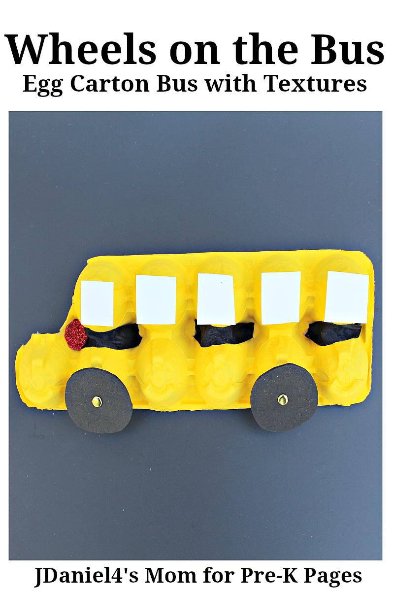 Wheels on the Bus Egg Carton Bus for preschool