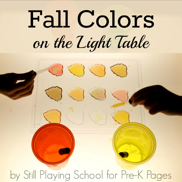 fall colors on light table preschool