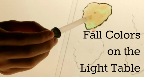 fall light table activity