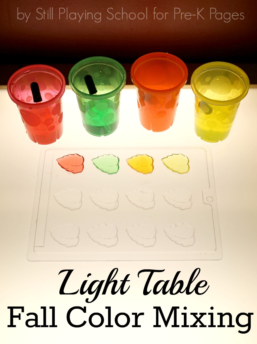 preschool light table fall