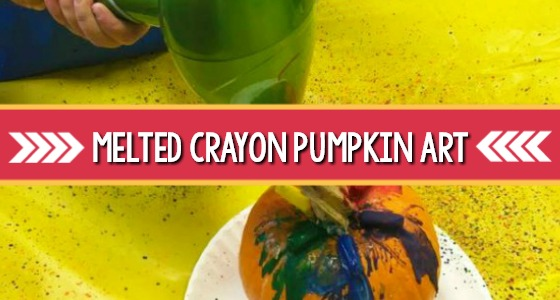 Melted Crayon Pumpkin Art
